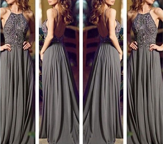 2017 backless gray long chiffon bling prom dress prom gown evening