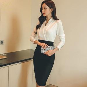 Image 2 - H Han Queen Solid Patchwork Korean Sheath Pencil Autumn Dress Women 2018 Official Wear Bodycon Dresses Casual Business Vestidos