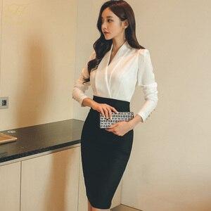 Image 2 - H Han Queen solidny Patchwork koreański płaszcza ołówek jesień sukienka kobiety 2018 oficjalne nosić sukienki bandażowe typu Bodycon Casual Business Vestidos