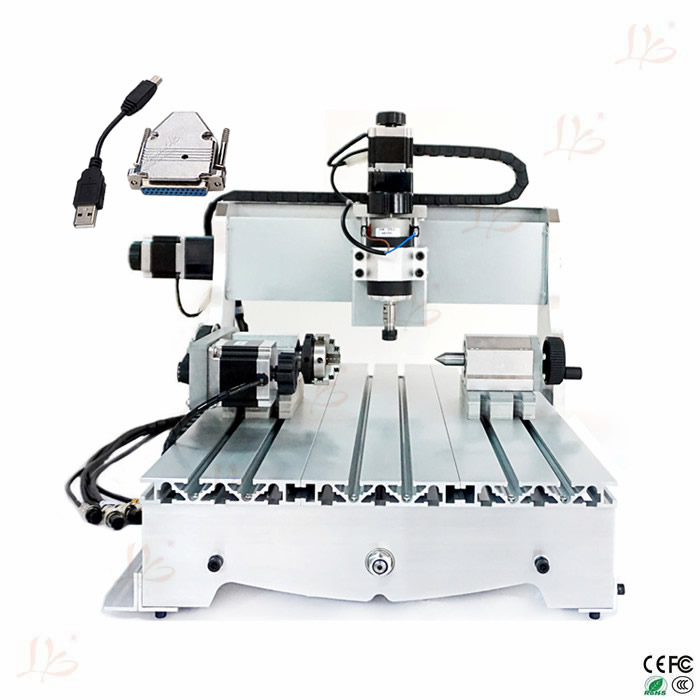 CNC milling machine with USB adpter 6040 Z-D300 4axis cnc router engraving  machine cnc 5axis a aixs rotary axis t chuck type for cnc router cnc milling machine best quality