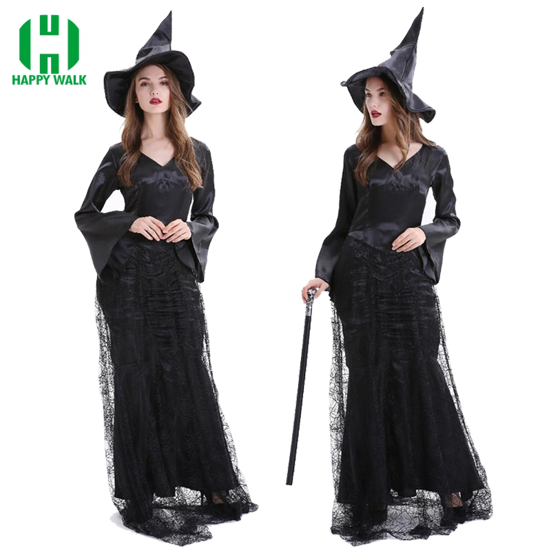 High Quality Witch Custume Women Halloween Masquerade Party Cosplay Maleficent Dress Vintage Gothic Long Dress Witch Costume