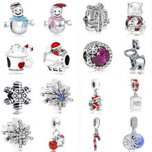 2019 new christmas gift 1pc father bear snowflake snowman diy bead fit Original Pandora charms Bracelet for women mix008(China)
