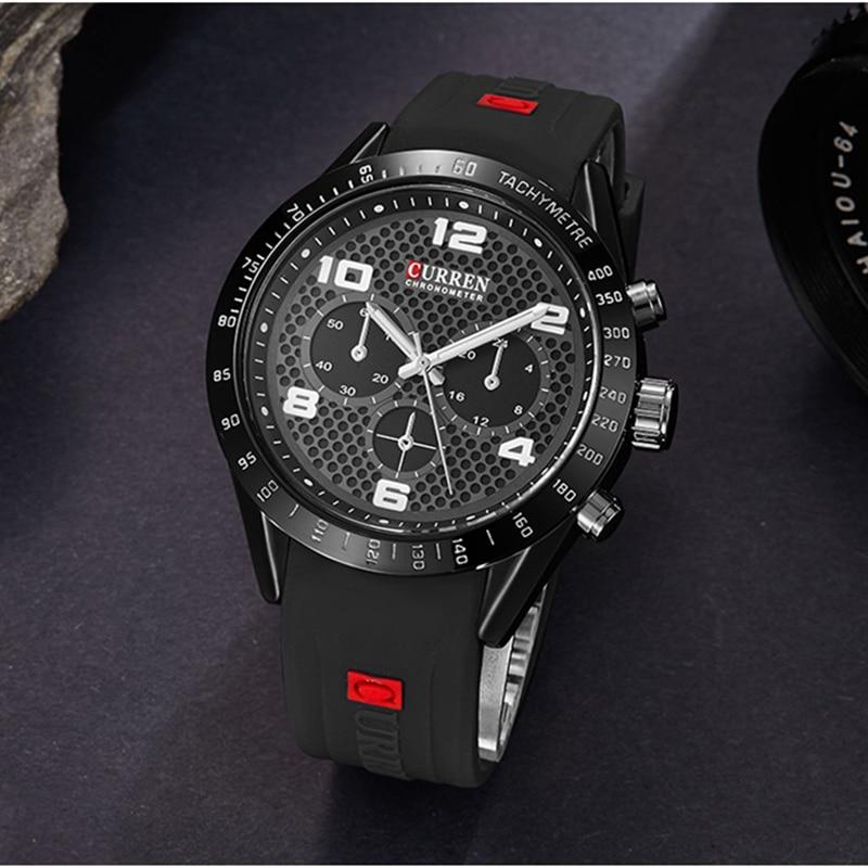 Hot Fashion Young Quartz Watches For Men CURREN Creative Rubber Men's Wrist Watch Casual Analog Sport Clock Relogio Masculino