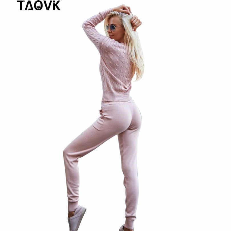 TAOVK kobiety sweter kombinezon i ustawia casual wiosenna jesień 2 sztuk dres kobiet spodnie z dzianiny + bluzy z kapturem kostium odzież zestaw