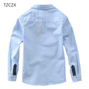 Image 4 - TZCZX sıcak satış çocuk gömlek avrupa ve amerikan tarzı pamuk 100% katı çocuklar gömlek giyim için 4 12 yıl giyim