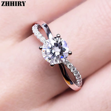 цена ZHHIRY Genuine Moissanite 925 Sterling Silver Ring For Women Rings 1ct 6.5mm D VVS1 With Certificate Gemstone Fine Jewelry онлайн в 2017 году