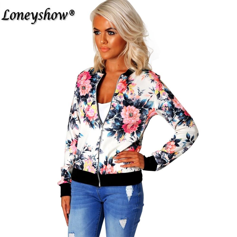 Fashion Floral Print Women   Basic   Coats 2017 Autumn Winter Bomber   Jacket   Long Sleeve Casual   Basic     Jackets   jaqueta feminina