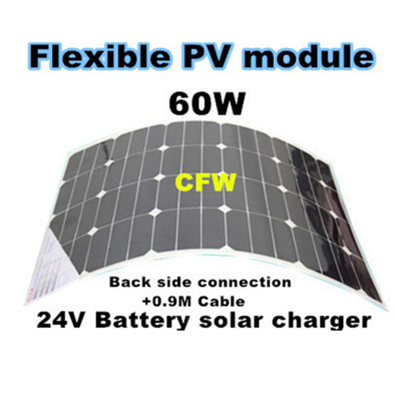 Sunpower  flexible solar panel 60W with Back Side Connection+0.9cable, 24V battery system solar charger.