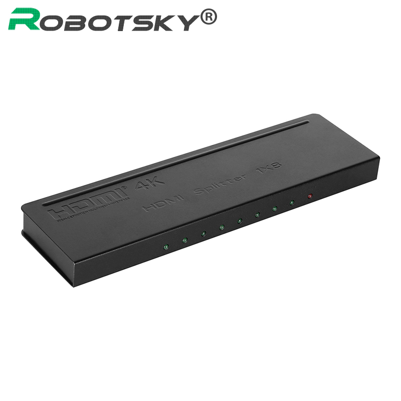 Métal HDMI 1x8 commutateur séparateur 1080 P amplificateur HD commutateur 1 en 8 sortie Audio vidéo HDMI convertisseur pour DVD HDTV V1.4 4 K x 2 K