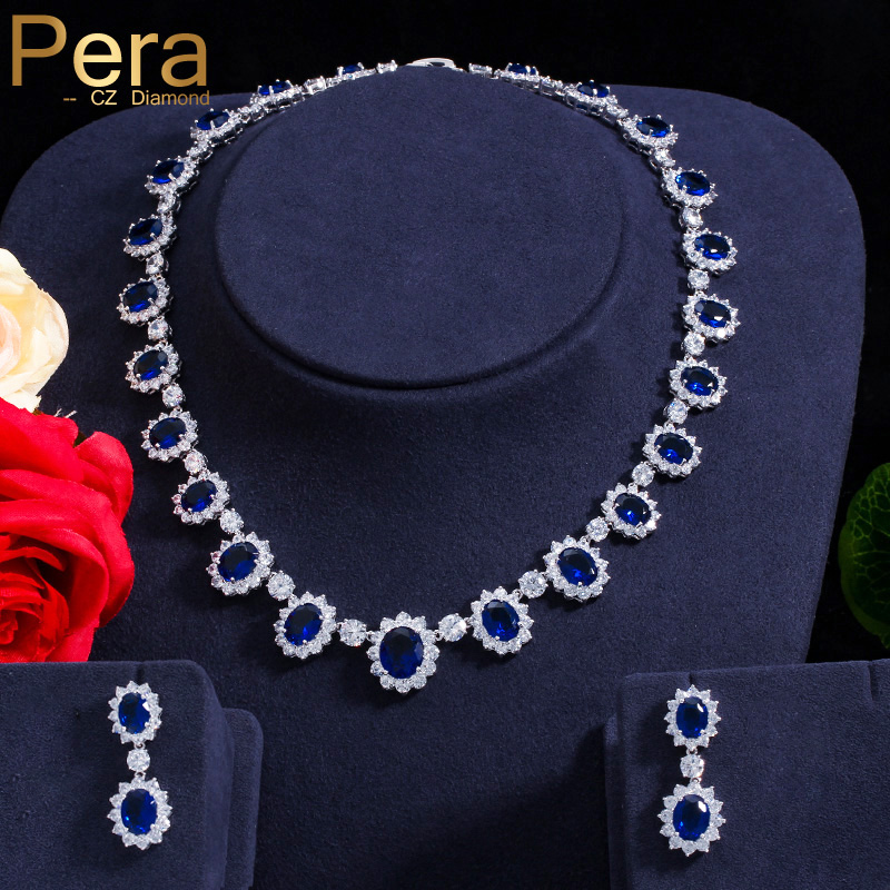 Pera CZ Big Round Cubic Zirconia Luxury Bridal Wedding Royal Blue Stone Necklace And Earrings Jewelry Sets For Brides J126