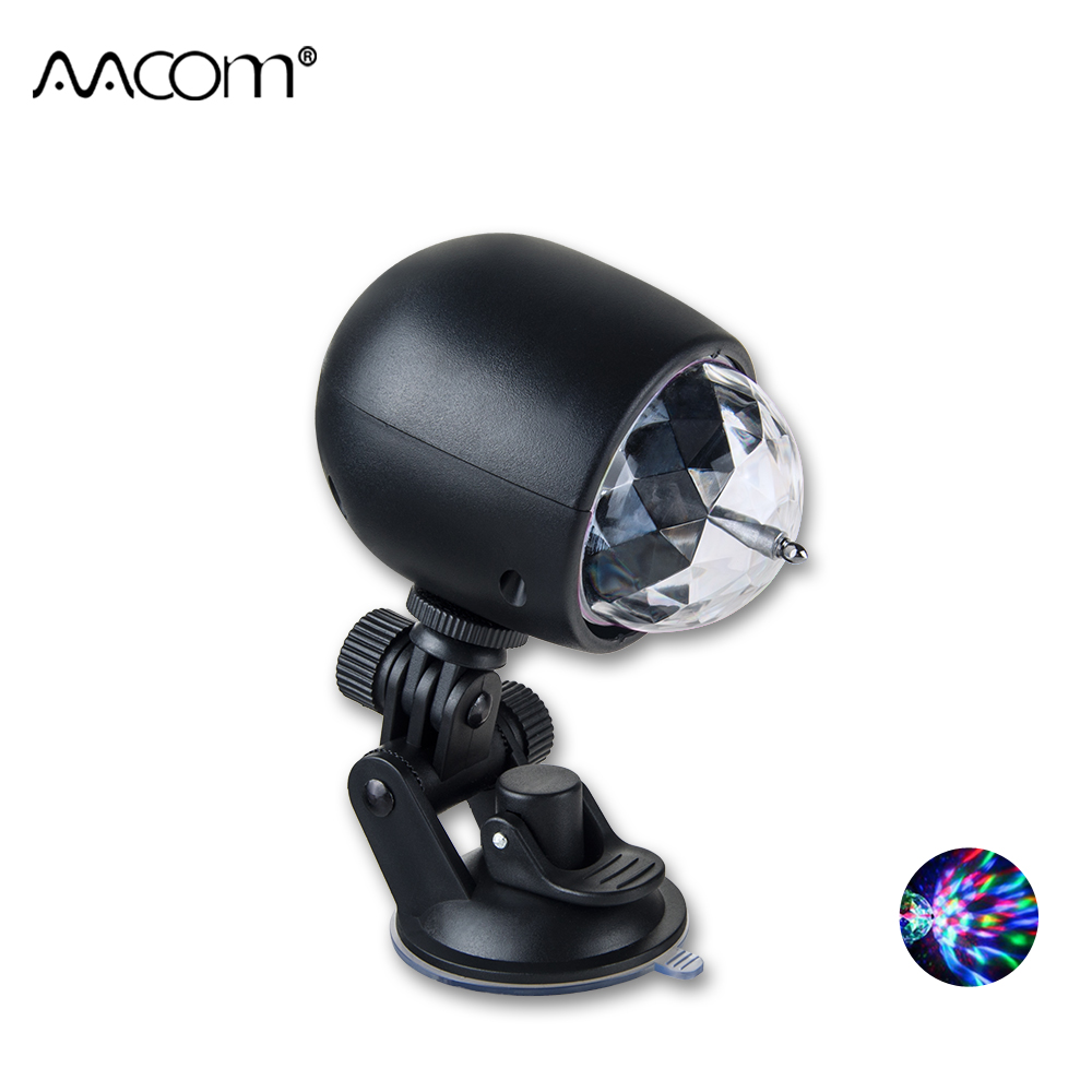 Mini USB Car Stage Light With Suction Cup Easy to Install Car Home Party DJ Auto Rotating Crystal Magic Ball Stage Effect