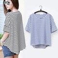 Mulheres da moda tops estilo Black & blue Solto Listrada de manga curta de verão camisas Casual t feminino camisa harajuku t Kawaii meninas WQ205