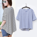 women fashion tops Striped short sleeve summer style Black&blue Loose Casual t shirts female harajuku t shirt Kawaii Girls WQ205