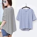 women fashion tops Striped short sleeve summer style Black&blue Loose Casual t shirts female harajuku t shirt Kawaii Girls WQ205