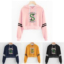 Kpop Women sexy Lovely crop top hoodies Hip Hop RIVERDALE Southside Serpent Print harajuku casual popular hoodies sweatshirts