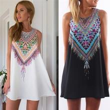 Vintage Print Women Dress O-neck Sleeveless Casual Dresses Boho Sexy Chiffon Beach Dress Summer Dress