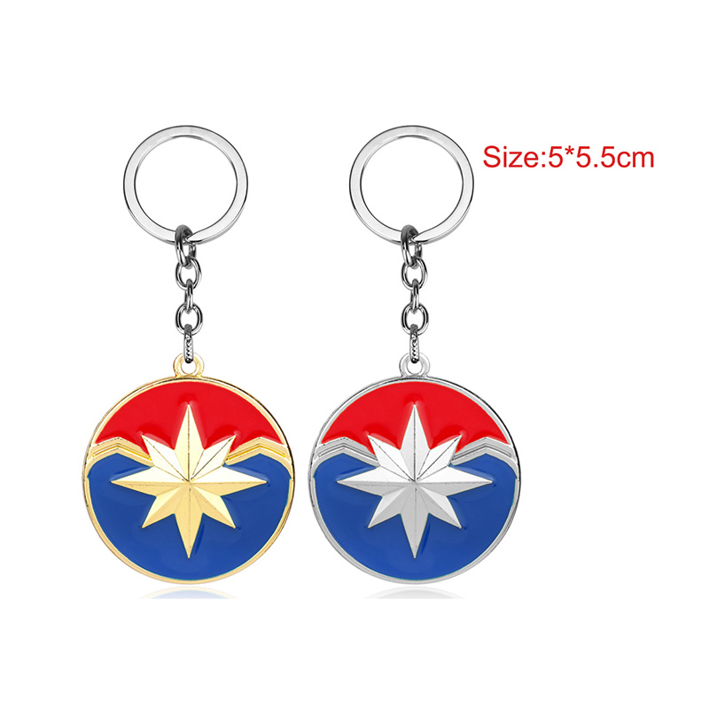 Captain Marvel Logo Keychain Superhero Metal Shield Pendant Keyring The Avengers Cosplay Marvel Key Chains