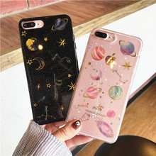 Fashion Bling Glitter Cute Star Case For iPhone 8 7 6 6S Plus Space Planet Soft Silicone Shockproof Cover iphone X XS MAX XR