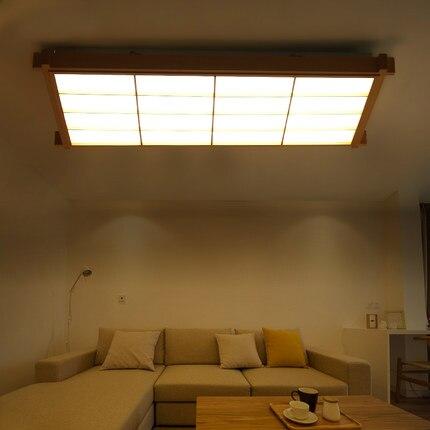 Dubové dřevo v japonském stylu, stropní lampa AC 110 / 220V LED, stropní lampa, ovčí kůže, ultratenký Tatami do obývacího pokoje