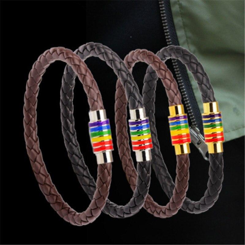 Handmade Genuine Braided Black Brown Leather Bracelet Women Stainless Steel Gay Pride Rainbow Magnetic LGBT Charms Men Bracelet