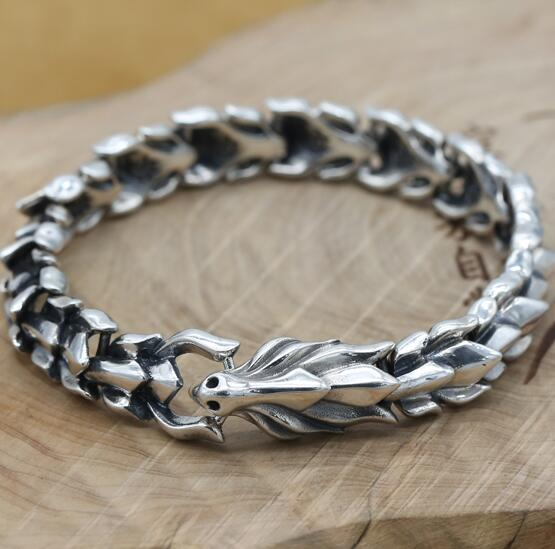 Handcrafted 925 Silver Dragon Chain Bracelet Thai Silver Man Bracelet Vintage Sterling Chain Power Dragon Bracelet 925 sterling silver men bracelet dragon scale bracelet men s coarse heavy thai silver chain punk fashion personality bracelet