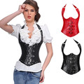 Sexy Women Body Waist Corsets And Bustiers Synthetic Leather Waist Corsets  Steel Boned Cincher Chest Binder Body Magic