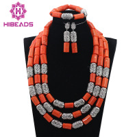 Best Sale Fuchsia Mix Blue Nigerian Wedding Beads Charming African Plastic Necklace Sets Handmade Design Free Shipping QW898