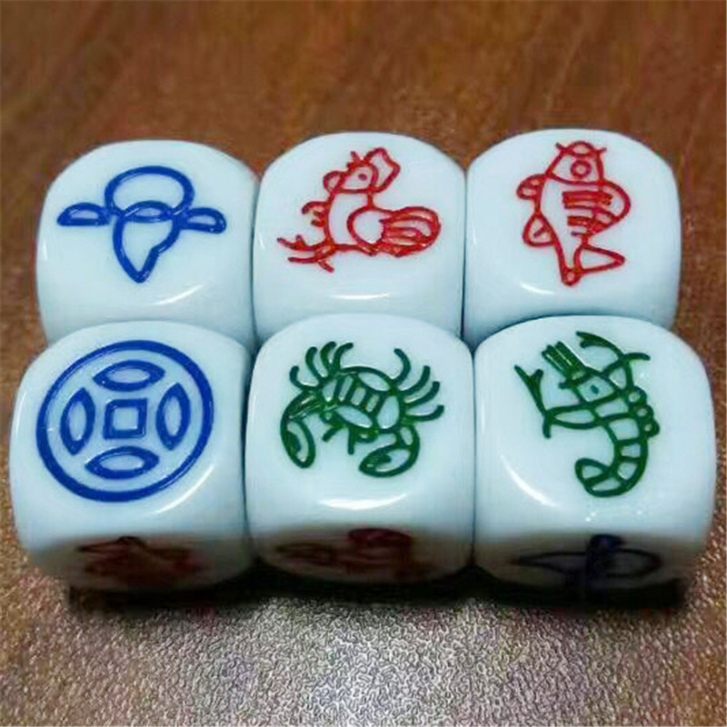 6Pcs/set 1.8cm Rubber Fish Shrimp Crab Carving Money Gourd Chicken Dice Shrimp Fish Pattern Dice For Family Game