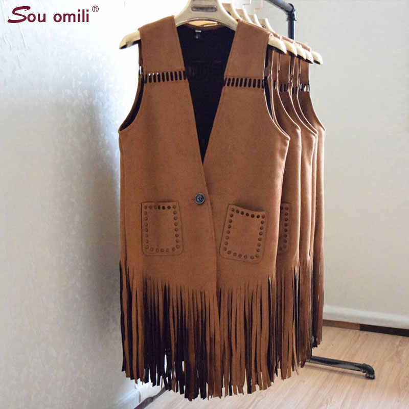 Women's Vest Ladies Suede Leather Tassel Ladies Fringed Waistcoat Female Colete Feminino Autumn Outerwear Cardigan Vest 2018