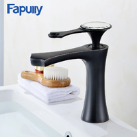 Fapully Sink Bathroom Basin Faucet Black Chrome Finish Diamond Single Handle Mixer Water Tap Hot And