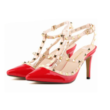 Fashion Women Stud Strappy Sandals Ladies Candy Color High Heels Party Dance Wedding Court ShoeS Plus Size 34-42 w812