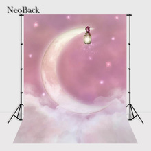NeoBack 5x7ft Vinyl Cloth Moon Light Star Night view Photo Backgrounds Printed Children Photo Backdrops Studio Backdrops B0649