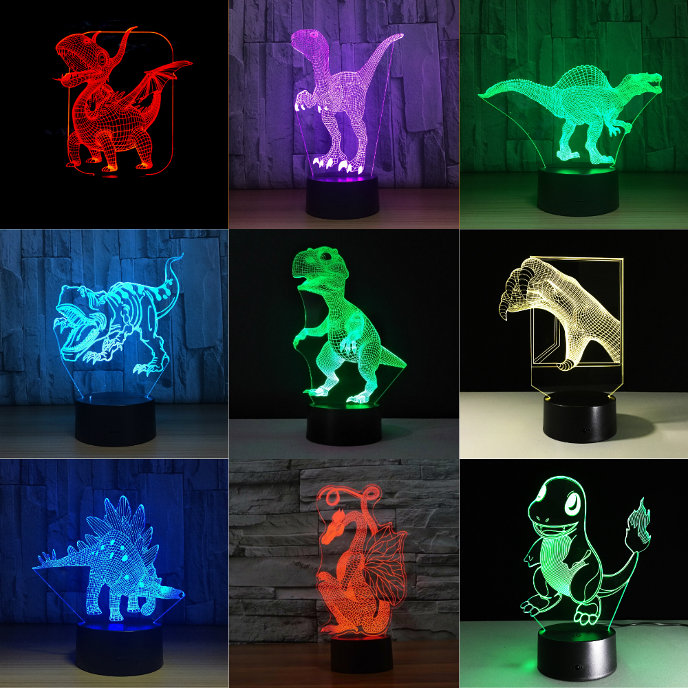 Dinosaur 3D Table Lamp LED Colorful Dog Nightlight Kids Birthday Gift USB Sleep Lighting Home Decoration with 7 Colors scosche revivelite ipod home charger with nightlight