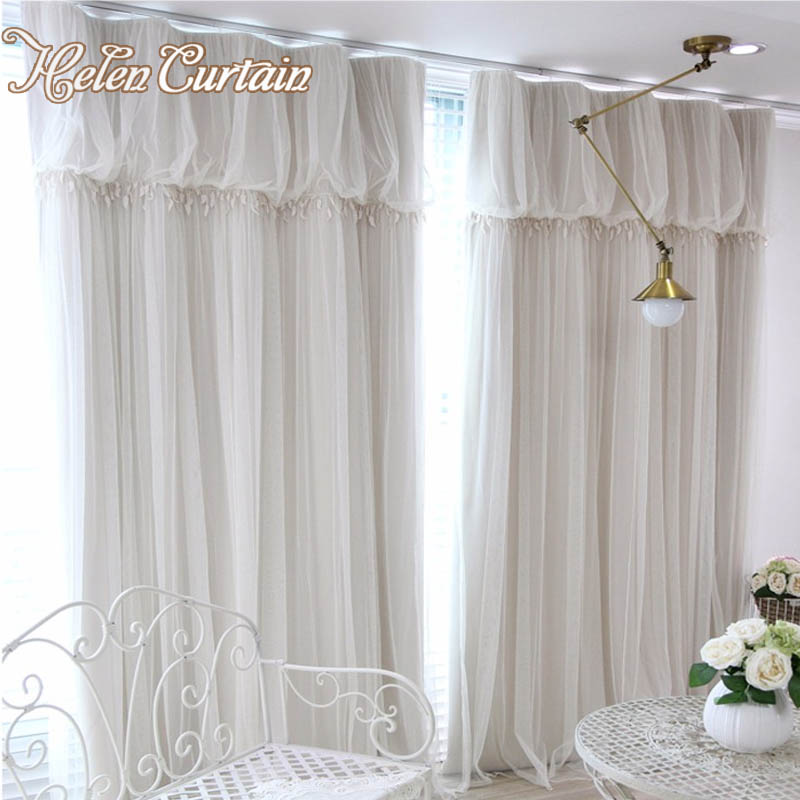 Helen Curtain Linen white tulle curtains for living room short ...