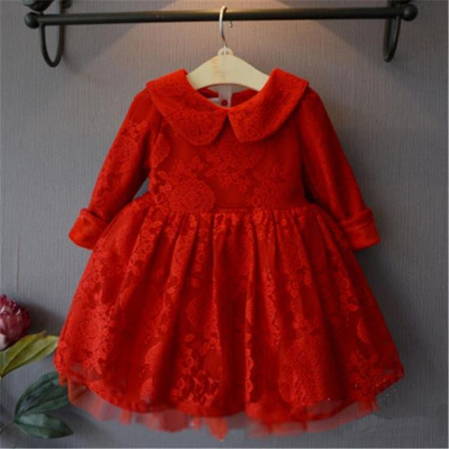 2016 Spring Autumn Winter Girls Dress Cotton Mesh Long Sleeve Lace Red Party And Wedding baby girls children clothing