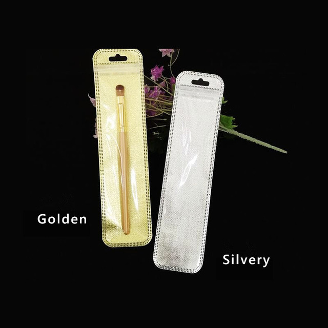 bf914bbf2d0f US $9.46 9% OFF|100/200pcs Long Gold/Silver clear plastic zipper lock bag  for watches jewelry packaging pouch self sealing bag for Makeup brush-in ...