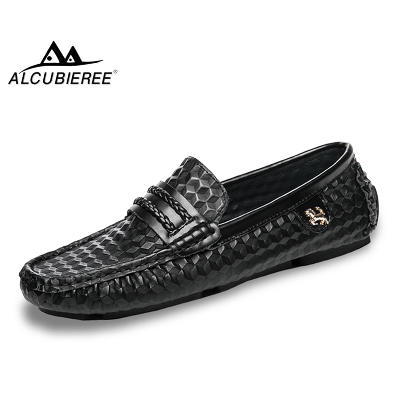 ALCUBIEREE 2018 Men Shoes Luxury Brand Leather Casual Loafers Shoes Men Moccasins Slip On Flat Driving Shoes Fashion Boat Shoes