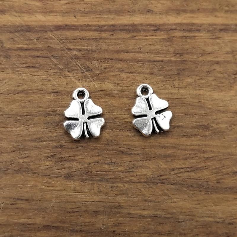 20pcs Charms lucky irish four leaf clover 12*9mm Tibetan Silver Plated Pendants Antique Jewelry Making DIY Handmade Craft