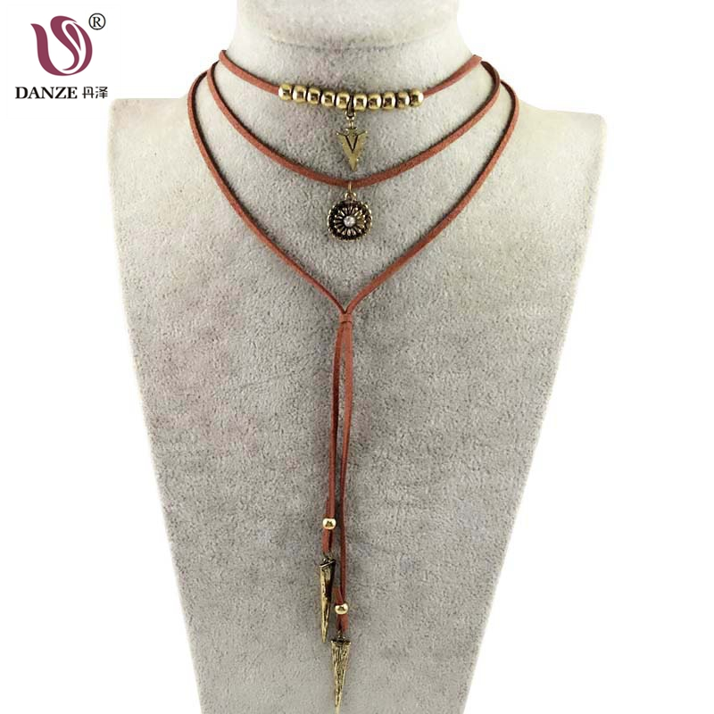 Boho Multilayer Imitation Leather Choker Necklace For Women Vintage Long Alloy Tassel Necklaces & Pendants Collares Mujer