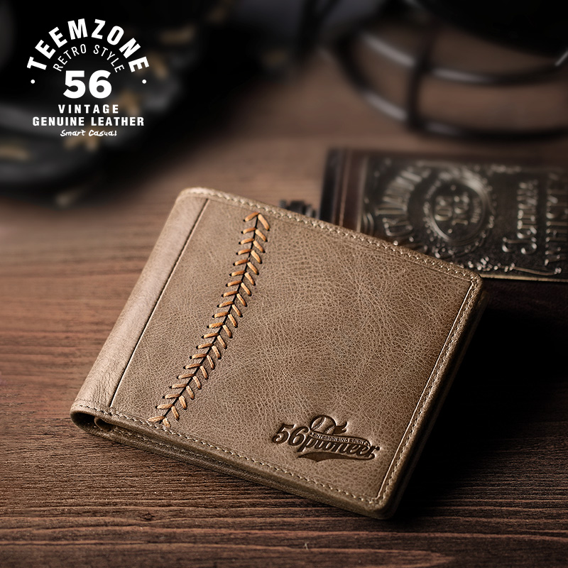 2017 High Quality Brand Casual Men Wallets Cowhide Handmade Purse Genuine Leather Card Holder Short Design Wallet For Men J50
