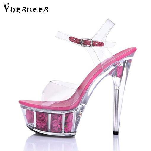 2017 New Wedding Shoes Crystal Transparent Sandals Waterproof  Thick Bottom Rose Flowers Super High Heel 15cm female Shoes