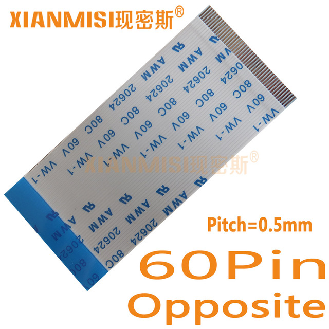 60Pin Flexible Flat Cable FFC  Opposite Side 0.5mm Pitch AWM 20624 80C 60V  Length 5cm 8cm 10cm 15cm 20cm 25cm 30cm 35cm 5PCS