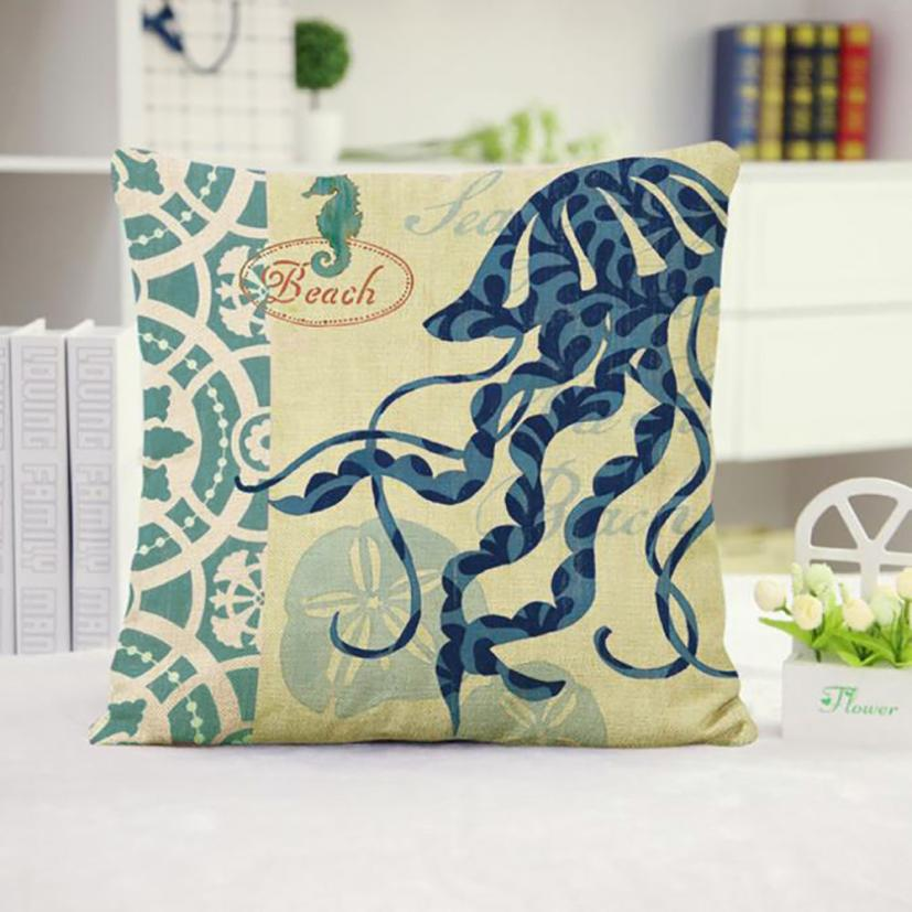 Ouneed New Creative Square Pillow for Home Office Hotel Car Use Cushion Cover Throw Waist Marine Style Sleep Home Decorative