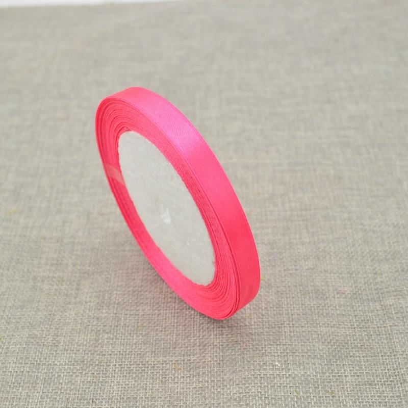 10 мм, 25 ярдов, шелковая атласная лента для свадебного автомобиля, ручная работа, Подарочная коробка для конфет, материалы для украшения, рождественские ленты - Цвет: rose red