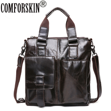 COMFORSKIN Large Capacity Mochila Masculina Guaranteed Cow Leather Mens Totes New Arrivals Men Travelling Handbags
