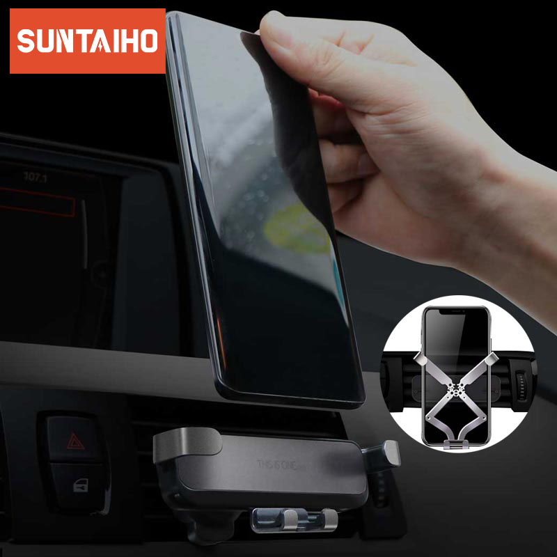 Suntaiho Universal Gravity Car phone Holder Car Air Vent Mount Car Holder For iPhone 7 8 X XR XS Max Mobile Phone Holder Stand(China)