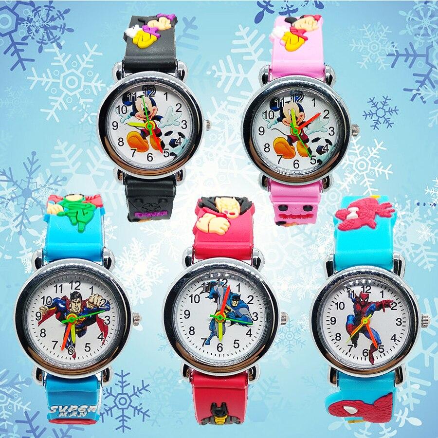 Super Hero Spiderman Batman Superman Mickey Watch Children Kids Watches Quartz Wristwatches For Baby Girl Boy Kid Clock Gift