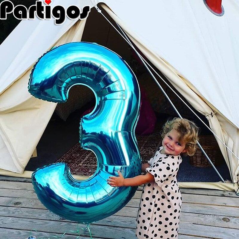 Taille géante 40 & 42 pouces bleu/rose grand nombre ballons en aluminium 0-9 anniversaire mariage fiançailles fête décor Globos enfants balle fournitures