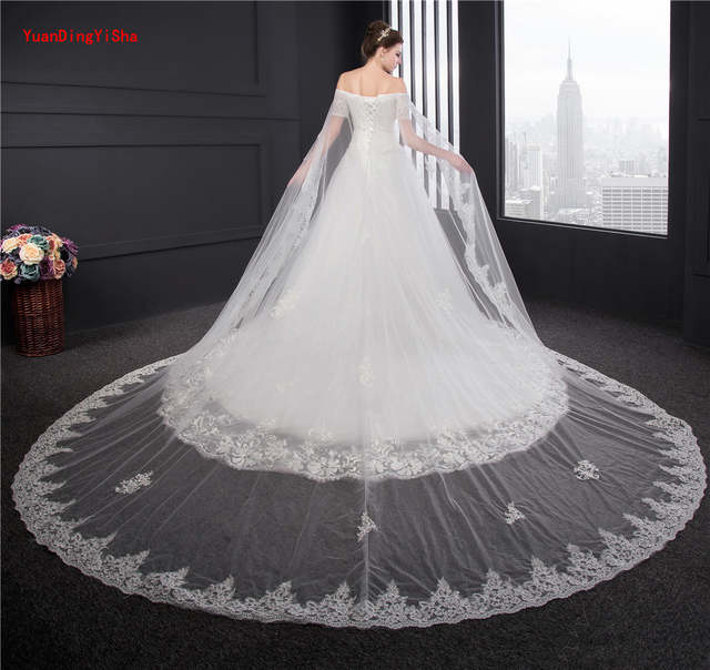 e9dd17e0912 placeholder Big Train Lace Wedding Gowns Short Sleeve Customized Ball gown  Bridal Gowns Lace Appliques Wedding Dress