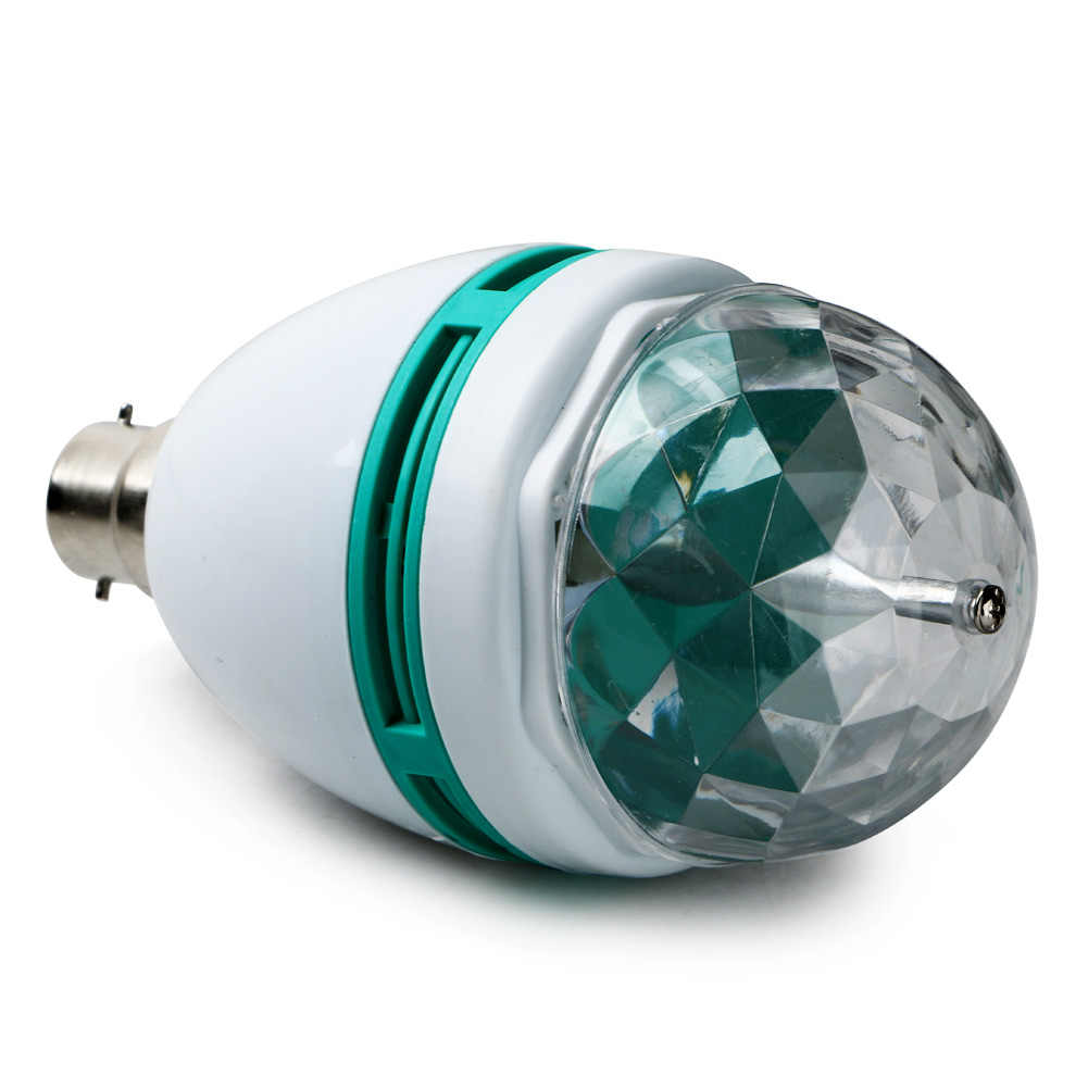 Multi-color colorido b22 3 w rotativa automática led bola de cristal lâmpada luz do palco dj discoteca bar ktv decoração bola lâmpadas luz